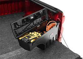Undercover Swingcase mounted on Chevrolet Silverado passenger Side showing with tools and gears