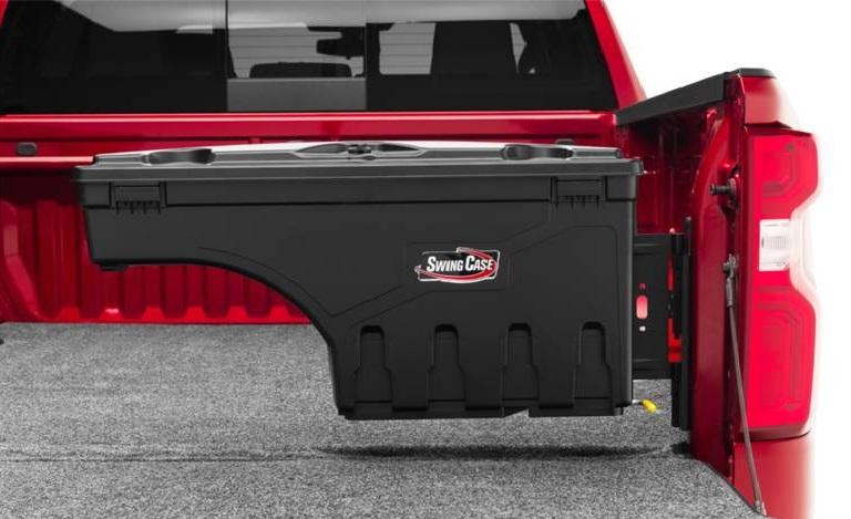 Undercover Swingcase SC100P installled on the passenger side of a Chevrolet Silverado HD truck bed panel
