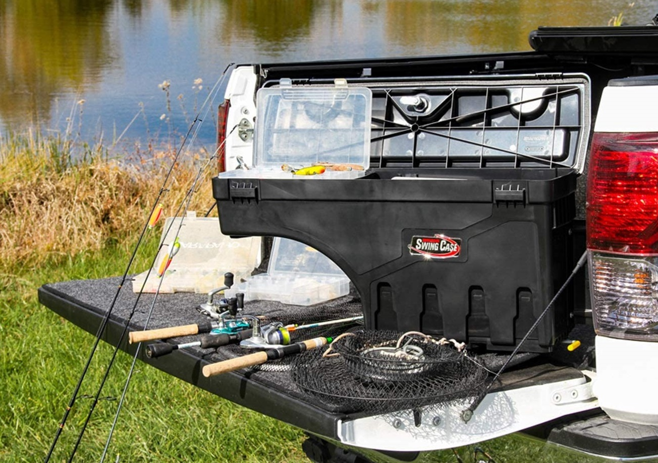 Undercover Swingcase SC205P for the passenger side of the truckbed with fishing gear